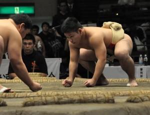 時田の勢いのある相撲に期待したい(右)