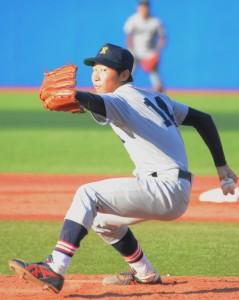 神宮初登板を飾った太田。投げっぷりのよさとフィールディングの上手さを見せた